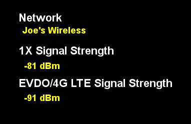 signal strength reading
