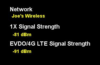 signal strength reading